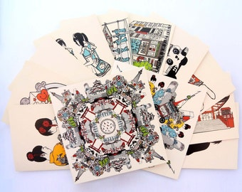 Japanese cardset / Complete 12-piece set / Illustration / Traditional & modern Japan / Blank A6 and square cards