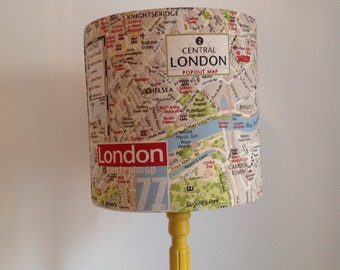 Handmade London map lined lampshade