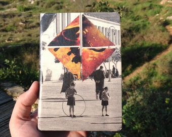"""Original A6 notebook. Analog collage """"Lights in Depth"""". Hand cut collage notebook cover"""