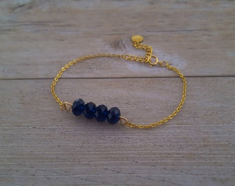 Indigo Bracelet, gold plated and dark blue Swarovski crystals, hand made