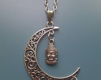 Buddha rainbow droplet pearl moon necklace