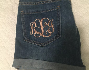 Monogrammed Womens Jean Shorts- Embroidered Denim Shorts
