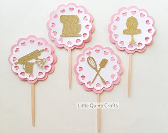12 pcs Bake Baking Pastry Little Chef Kitchen Aid Rolling Pin Spatula Whisk Pretend Play Gold Silver Glitter Hearts doilies cupcake topper