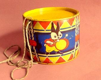 Vintage toy Happynak Toy Drum with rabbit design