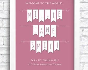 Personalised Baby Bunting Birth Details Framed Print Keepsake. New Baby Print. Nursery Artwork. Word Art. FREE POSTAGE