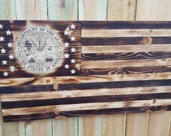 US Military wood flag. US flag with military logo set amongst the stars. Army flag. Navy flag. Marine Corps flag. US Coast Guard flag.