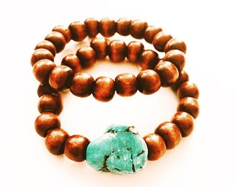 Wood and Turquoise Bracelets