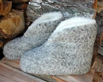 KragenHüttenschuhe, slippers, slippers, Sheepskin, Ti.Grau, Gr. 44-48