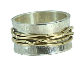 15mm Mixed  Metal Wire Wrapped silver and 9ct yellow gold Flat Band