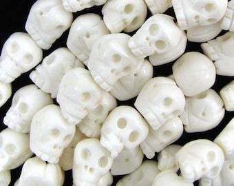 """16mm white bone carved skull beads 7.5"""" strand 12pcs 16110"""