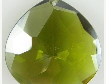 40% CLEARANCE 30mm faceted CZ cubic zirconia briolette pendant khaki 4887