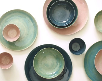 Stoneware Plates Set, Handmade Pottery, Stoneware Ceramic Plates, Ceramic Bowls. Stoneware Dinnerware Dish Set Glazed in Green, Blue, Pink.