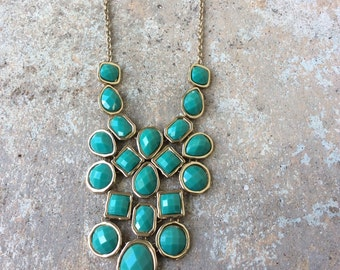 Turquoise and gold bubble necklace