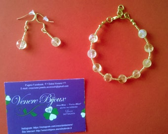 Discount gemstone bracelet and earrings with citrine