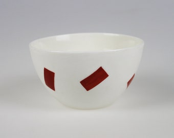 Geo Bowl - White Porcelain with Red Rectangles