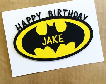 Batman Birthday Card - Papercut Hand Made Blank Card - Greetings Card - Can Be Personalised