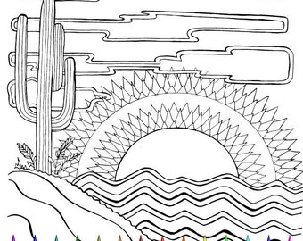 adult coloring page desert scene southwest cactus hand drawn image digital