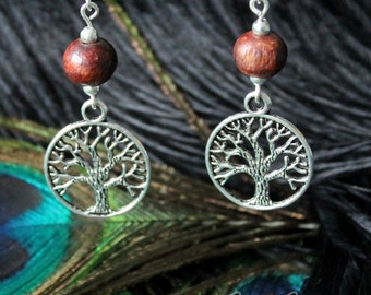 Tree of life earrings with wooden bead