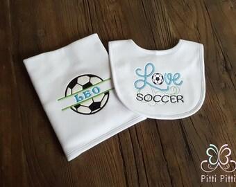 Baby boy  Personalized Soccer set burp cloth and bib - Appliqued Soccer Burp cloth &  bib