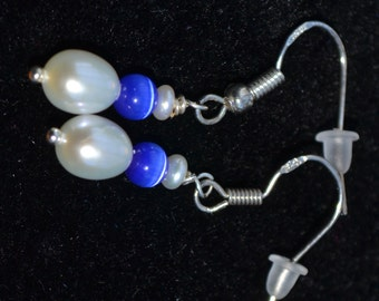 Eye of the Tiger blue freshwater pearl earrings