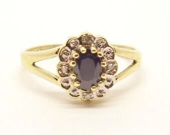 Vintage Sapphire & Diamond Cluster Ring   Size UK M 1/2 - US 6 3/4   Free Sizing / Shipping