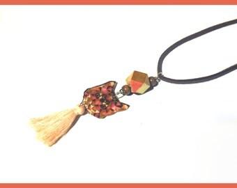 """Suede head of cat """"Cat origam"""" necklace"""