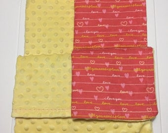 Baby Girl, Minky and Flannel Blanket