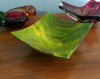 Woodturning - Green/yellow stained square ash wood bowl