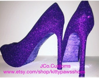 Women's Prince Purple Rain Glittered Wedding Prom Homecoming Special Event Heels Pumps from JCo.Customs by Kitty Paws Shoes