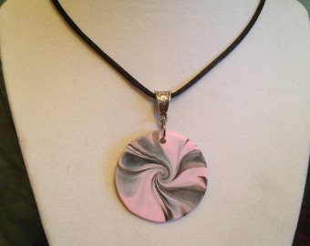 Polymer Clay Swirl Pendant Necklace