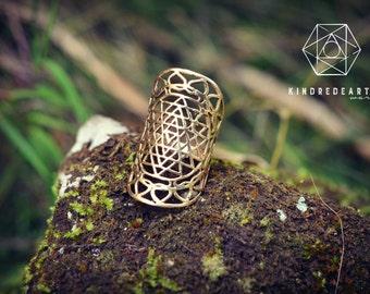 Sri Yantra Mandala Sacred Geometry, Brass Ring, Tribal Jewelry, Bohemian Jewelry, Yoga Jewelry