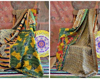 Vintage Kantha Throw Earthy Primitive Rugged Bohemian