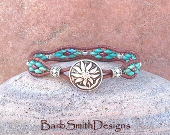 Turquoise Silver Leather Wrap Cuff Bracelet - The Curvy Skinny One in Turquoise