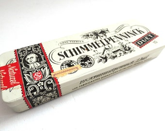 Tobacco tin. Schimmelpenninck duet Cigar tin. Collectible Dutch advertising tobacco, cigar tin. Tobacciana, storage, Holland. #64AGDCK1
