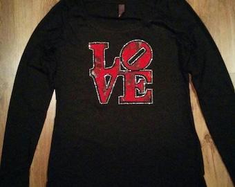 LOVE lace and rhinestone T-shirt