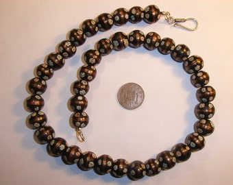 8931 Black Glass millefiore necklace with silver clasp