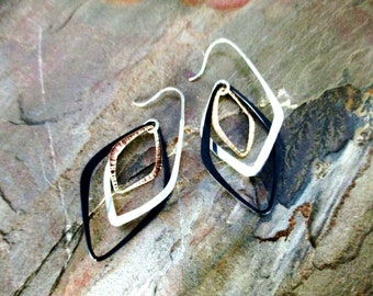 modern minimalist mixed metal dangle earrings gold filled sterling silver oxidized silver