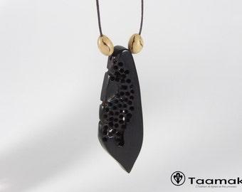 Necklace unique piece carved Mozambique ebony