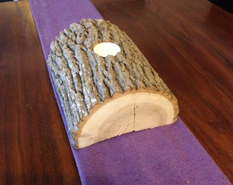 Log Tealight, Rustic Candle Holder