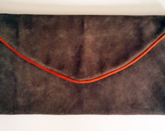 Suede Dark Olive and Rust Pipe Clutch Bag