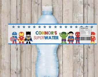 Superhero water bottle label - personalized for your party - digital / printable DIY superhero water labels