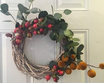 Summer Wreath with faux eucalyptus, mini pomegranate and craspedia sun balls