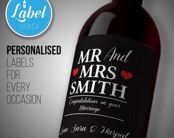 Mr & Mrs Wedding personalised wine bottle label-Ideal Celebration/Congratuations/Anniversary/Birthday/Wedding gift personalized bottle label