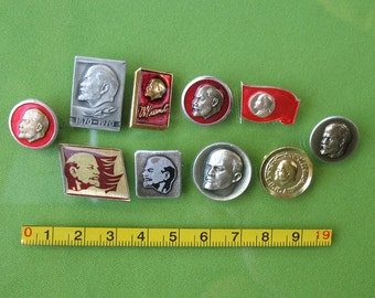 Set of 10 Russian pins LENIN vintage Propaganda metal badges collection