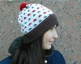 """Knitted Pompon Hat Fair Isle- """"Clouds"""""""