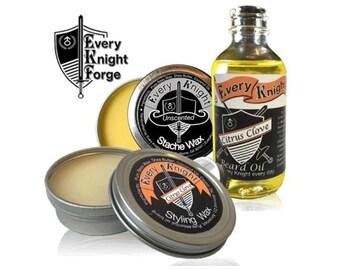 Every Knight Premium, All-natural Beard & Mustache Grooming Kit for Men - Oil, Wax/Balm, Wax Combo Set: Citrus Clove