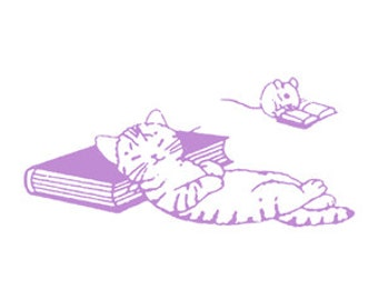 "Kawaii ""Napping cat"" Walnut wood Rubber Stamp - Planner - Scrapbook - Mailing -  Packaging decoration."