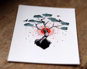 The Tree of Life illustrated postcard // nature illustration // pen and ink drawing // mini print