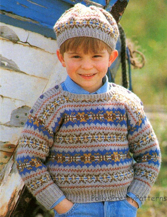 Fair Isle Beret Knitting Pattern : PDF Knitting Pattern Childs Fair Isle Sweater & Beret