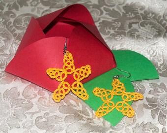 Handmade tatting Starfish earrings